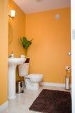 Cuarto de baño anaranjado Foto de archivo libre de regalías