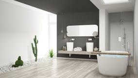 Cuarto de baño blanco minimalista con el jardín suculento, piso de madera imagen de archivo