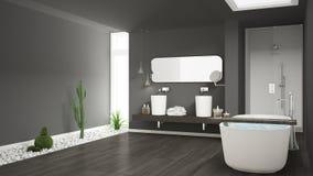 Cuarto de baño blanco minimalista con el jardín suculento, piso de madera fotografía de archivo libre de regalías