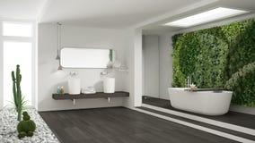 Cuarto de baño blanco minimalista con el jardín vertical y suculento, wo fotos de archivo libres de regalías