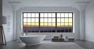 Cuarto de baño blanco monocromático espacioso grande stock de ilustración