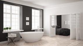 Cuarto de baño blanco y gris escandinavo minimalista con el dormitorio adentro foto de archivo libre de regalías