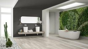 Cuarto de baño blanco y gris minimalista con g vertical y suculento imágenes de archivo libres de regalías