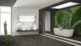 Cuarto de baño blanco y gris minimalista con g vertical y suculento imagenes de archivo