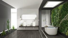 Cuarto de baño blanco y gris minimalista con g vertical y suculento fotos de archivo