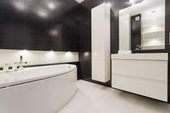 Cuarto de baño blanco y negro imagen de archivo libre de regalías