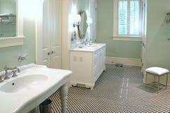 Cuarto de baño blanco y negro lujoso Fotografía de archivo libre de regalías