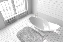 Cuarto de baño brillante en blanco Fotografía de archivo libre de regalías