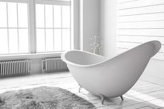 Cuarto de baño brillante en blanco Imagen de archivo libre de regalías