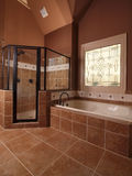 Cuarto de baño casero de lujo del azulejo con la ventana Foto de archivo libre de regalías