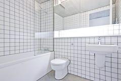 Cuarto de baño cobarde del diseñador en una conversión del almacén fotos de archivo