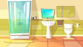Cuarto de baño con el ejemplo del vector de la ducha de parada libre illustration