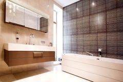 Cuarto de baño con el espejo y la tina Imagen de archivo libre de regalías