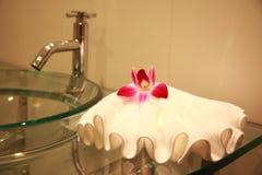 Cuarto de baño con la orquídea Imagenes de archivo