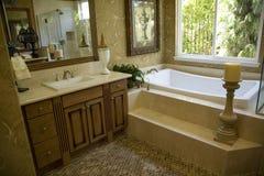 Cuarto de baño con la tina y la decoración Imágenes de archivo libres de regalías