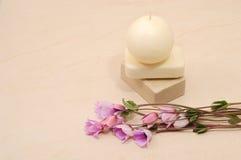 Cuarto de baño con las flores Foto de archivo