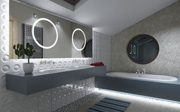 Cuarto de baño con los círculos Fotos de archivo libres de regalías