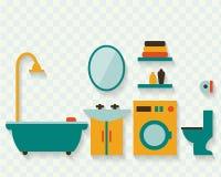 Cuarto de baño con muebles Foto de archivo libre de regalías