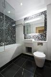 Cuarto de baño contemporáneo de la en-habitación en blanco y negro Foto de archivo libre de regalías