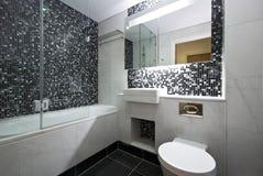 Cuarto de baño contemporáneo de la en-habitación en blanco y negro fotos de archivo libres de regalías