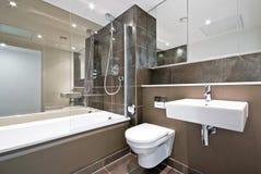 Cuarto de baño contemporáneo de la familia en marrón Imagen de archivo