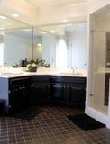 Cuarto de baño de lujo con madera oscura Imagenes de archivo