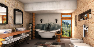 Cuarto de baño del balneario ilustración del vector