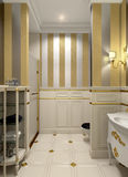 Cuarto de baño del oro Foto de archivo libre de regalías