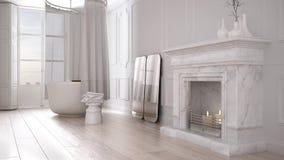 Cuarto de baño del vintage en espacio clásico con el piso viejo de la chimenea y de entarimado, diseño interior moderno imagenes de archivo
