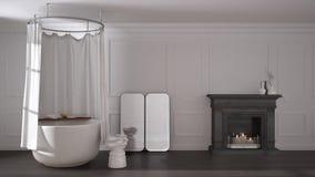Cuarto de baño del vintage en espacio clásico con el piso viejo de la chimenea y de entarimado, interior moderno ilustración del vector