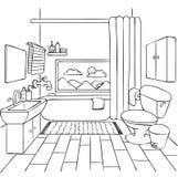 Cuarto de baño dibujado mano para el elemento del diseño y la página del libro de colorear para los niños y el adulto Ilustración ilustración del vector