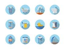 Cuarto de baño e iconos planos redondos de la higiene Imagen de archivo