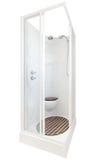 Cuarto de baño elegante de la cabina de la ducha En el fondo blanco Foto de archivo libre de regalías
