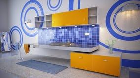 Cuarto de baño en azul Foto de archivo