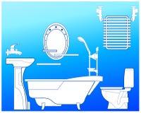Cuarto de baño en azul Fotografía de archivo libre de regalías
