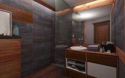 Cuarto de baño en color oscuro y madera Fotos de archivo
