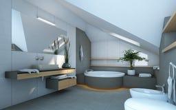 Cuarto de baño en colores grises Foto de archivo libre de regalías