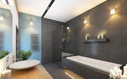 Cuarto de baño en colores grises Imagen de archivo libre de regalías