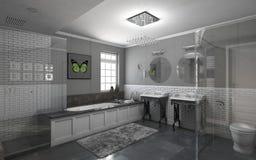 Cuarto de baño en gris Imagenes de archivo
