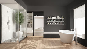 Cuarto de baño escandinavo gris minimalista con el vestidor, clase