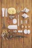Cuarto de baño fijado en un fondo de madera. Imágenes de archivo libres de regalías