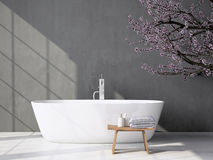 Cuarto de baño gris moderno con la bañera representación 3d fotografía de archivo libre de regalías