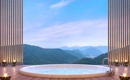 Cuarto de baño de lujo con imagen de la representación del Mountain View 3d Fotografía de archivo libre de regalías