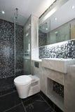 Cuarto de baño lujoso en blanco y negro Foto de archivo