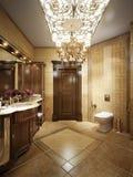 Cuarto de baño lujoso en estilo clásico con las lámparas cristalinas Imagen de archivo libre de regalías