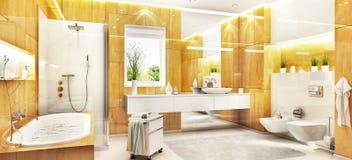 Cuarto de baño de mármol moderno con el baño y la ventana ilustración del vector