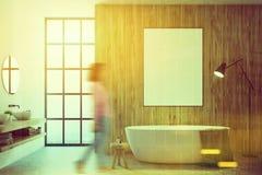 Cuarto de baño de madera, cartel entonado fotos de archivo libres de regalías