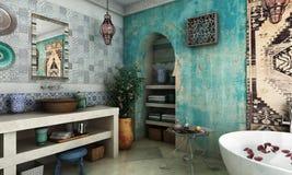 Cuarto de baño marroquí imagenes de archivo