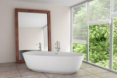 Cuarto de baño moderno con el espejo grande fotos de archivo
