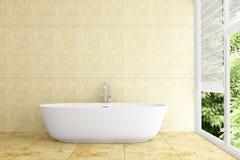 Cuarto de baño moderno con los azulejos amarillentos en la pared Foto de archivo